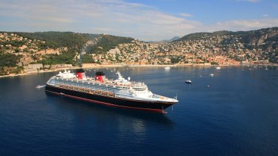 Cruise ship berthing in the Bay of Villefranche-sur-Mer